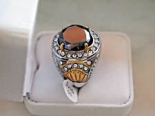 Antique Style 7+Ct,15.5mm Black Diamond Stainless steel and cooper ring for Men