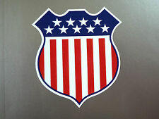 "USA Stars & Stripes Flag Shield Classic Race Car STICKER 4"" Travel America Bike"