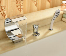 Chrome Tap Waterfall Spout Bathroom Tub And Shower Faucet With Handheld Head New