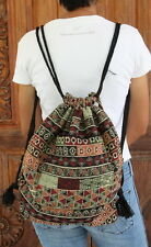 New Backpack Drawstring Sack Boho Thai Hill Tribe Cotton Shoulder Sling bag BG83
