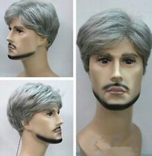 Sexy Old Men Wig cap Cosplay Party Club  Gray Mixed Short Curly Men's Hair Wigs