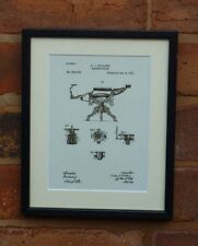 USA Patent Drawing vintage BARBER CHAIR hairdresser hair MOUNTED PRINT 1891