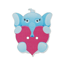 10 Wood Novelty Elephant & Heart Sewing Buttons  32 x 26mm, crafts Free P&P
