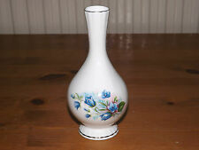 Staffordshire Bone China, England, Blue Floral design, Gilt Trim Footed Bud Vase