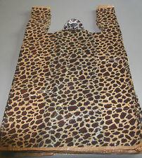 "50 LEOPARD Print Design Plastic T-Shirt Retail Shopping Bags Handles 11.5x6x21"""
