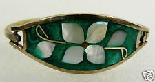 ALPACA MEXICO SILVER TONE GREEN COLORFUL MOTHER OF PEARL INLAY BANGLE BRACELET