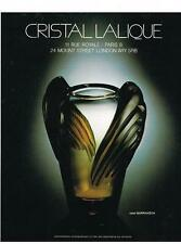 PUBLICITE ADVERTISING  1983   CRISTAL  LALIQUE  vase MARRAKECH