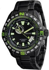 Seiko Superior SSA097 Men's Black IP Stainless GMT 24 Jewels Automatic Watch