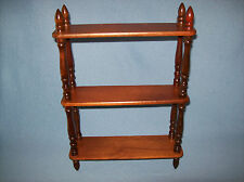 "VINTAGE 3 TIER MEDIUM DARK WOOD TONE FINISH WOODEN 17"" WALL SHELF WITH SPINDLES"