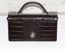 BRIGHTON~LEATHER + CROCODILE~WOVEN STRAP~ORGANIZER HANDBAG CLUTCH PURSE (RARE)
