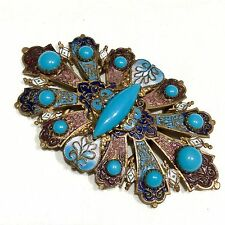 ANTIQUE FRENCH ART NOUVEAU MOSAIC ENAMEL & STONES CHAMPLEVE BELT BUCKLE c1900