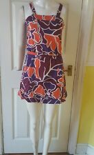Ladies size  SLEEVELESS VEST STYLE ORANGE  PURPLE FLORAL PRINT DRESS SIZE 8