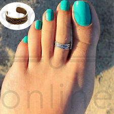 925 Sterling Silver Plated Adjustable Carving Pattern Vintage Style Toe Ring