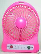 Portable Mini Rechargeable LED Light Fan With Charger Battery & USB Cable(Pink)