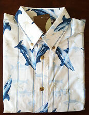 Mens Medium S/S Print Button Down Shirt Sharks Fish Lures Cafe Luna  NWT