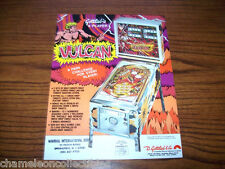VULCAN By GOTTLIEB 1977 ORIGINAL NOS PINBALL MACHINE SALES FLYER BROCHURE
