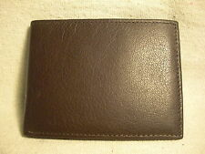 Non-Branded Dk Brown Genuine Leather Bifold Wallet w/6 CC Slots Spare Key Holder