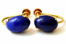 Vintage 14K Solid Gold and Lapis Lazuli Earrings