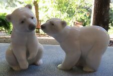 TWO Lladro Polar Bear Figurines Attentive and Resting Bears #1207 & #1208 Mint!