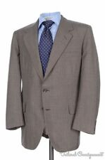 OXXFORD Brown Plaid Check 100% Wool Jacket Flat Front Pants SUIT Mens - 42
