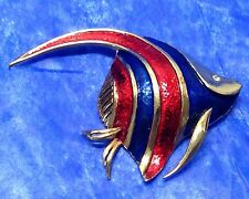 Vintage Boucher Signed Angel Fish Brooch Pin Blue red Enamel