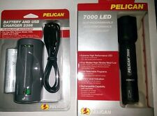 Rechargeable Pelican 7000 LED Flashlight & 602 Lumens +  extra battery