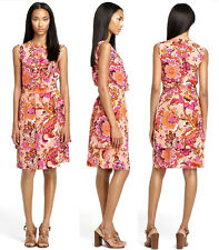 TORY BURCH Darilynn grapefruit pink floral print ruffle 100% silk dress US8