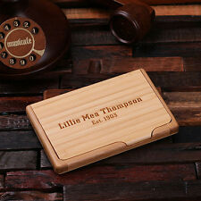 Personalized Wooden Business Card Holder Dad's Mom's Birthday Office