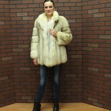 ladies RETRO FAB! NORWEGIAN BLUE FOX FUR COAT JACKET! SM free ship usa