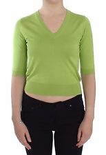 NWT $500 DOLCE & GABBANA Green Wool V-neck Pullover Sweater Top IT36 / US2 / XS