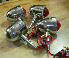 4 feu phare arriere moto bobber chopper  taillight  vintage mini bullet chrome