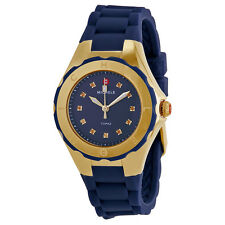 BRAND NEW MICHELE MWW12P000004 TAHITIAN JELLY BEAN BLUE & GOLD WOMEN'S WATCH