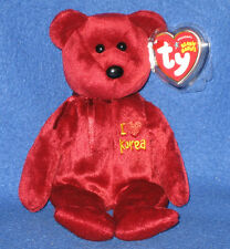 TY I LOVE KOREA the BEAR BEANIE BABY - MINT with MINT TAGS - AP EXCLUSIVE