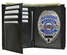 SILVER CONCEALED CARRY  BADGE WITH LEATHER WALLET WEAPON HAND GUN PISTOL PERMIT