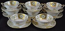 Royal Crown Derby Green Derby Panel Set of 8 Cream Soup and Saucers