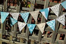 Modern Bunting handmade fabric 15 flags - aquas and golds garland flags