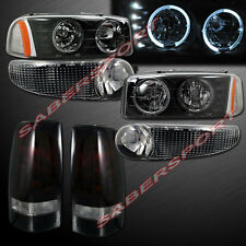 2002-2003 GMC SIERRA DENALI HALO HEADLIGHTS w/LED + BUMPER + TAIL LIGHTS COMBO