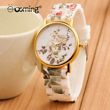 Vogue Women Flower Gold Stainless Steel Silicone Lady Analog Quartz Wristwatch 1