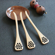 1pc Bionic Natural Wood Honey Dipper Server Mixing Stick Spoon Healthy Utility