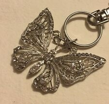 Silver Tone Butterfly Key Ring Keyring Bag Charm Gifts D130 Stocking Filler