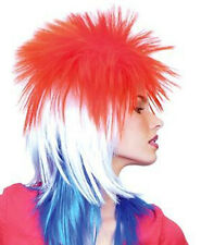 Exceptional Quality Spiky Punk Rocker Red , White, Blue Hair Party Wig