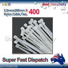 400 x White Nylon Cable Ties 2.5mmX 200mm (3 x200mm) Free Postage