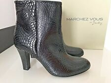 $484 Marchez Vous Lavinia Ankle Boot Embossed Black Leather Booties 8.5 & 9 NEW