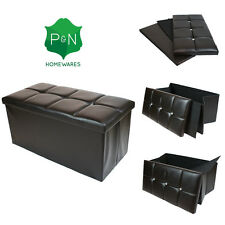 Large Brown leather diamante ottoman box Storage Pouffe Foot Stool Toy Storage