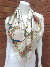 GUCCI CREAM SILK GOLD CAGE/BIRD/FLORAL PRINT SCARF BNWT MADE IN ITALY