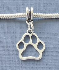 Charm Pendant Dangle DOG PAW Print For European Charm Bracelet and Necklace C166
