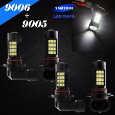 Combo 9006-HB4 9005-HB3 Samsung LED 42 SMD White Headlight Bulbs High Low Beam
