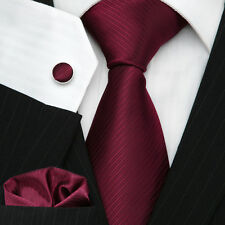 Men's Excellent Quality Necktie Burgundy Wedding Twill Tie Set UK Stock