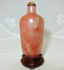 "3.2"" Chinese Pink Peach & Rust color Stone Snuff Bottle w/ Coral Top & Stand"