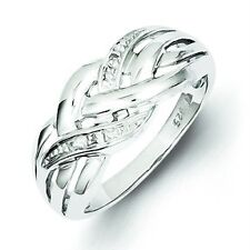 .925 Sterling Silver Polished 0.01ct Diamond Twisted Right Hand Ring Size 8